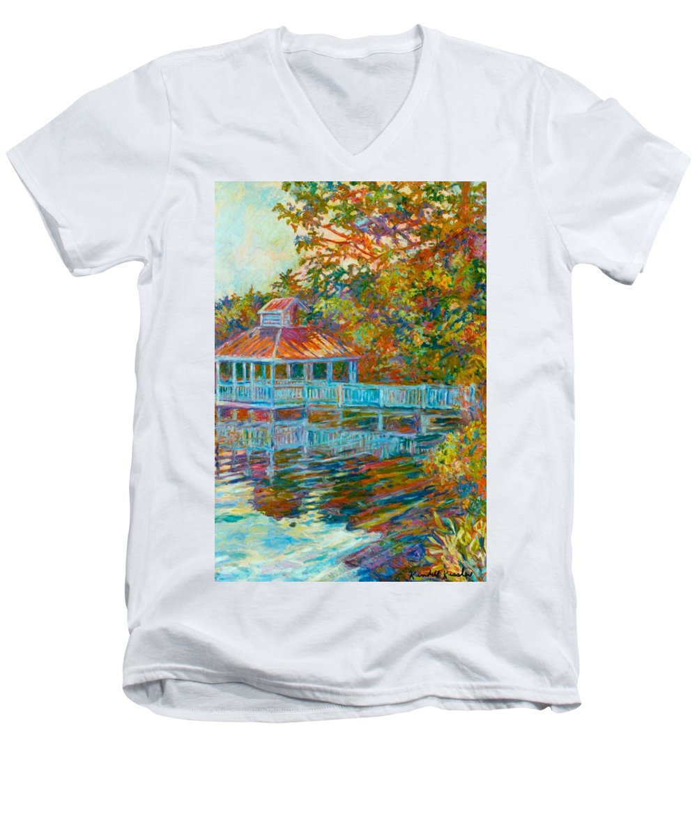 Mountain Lake Men's V-Neck T-Shirt featuring the painting Boathouse At Mountain Lake by Kendall Kessler
