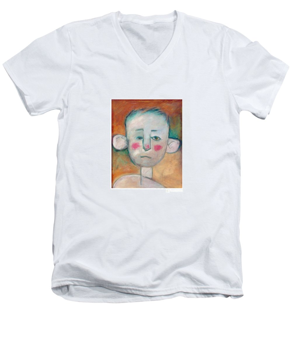 Boy Men's V-Neck T-Shirt featuring the painting Boy by Tim Nyberg