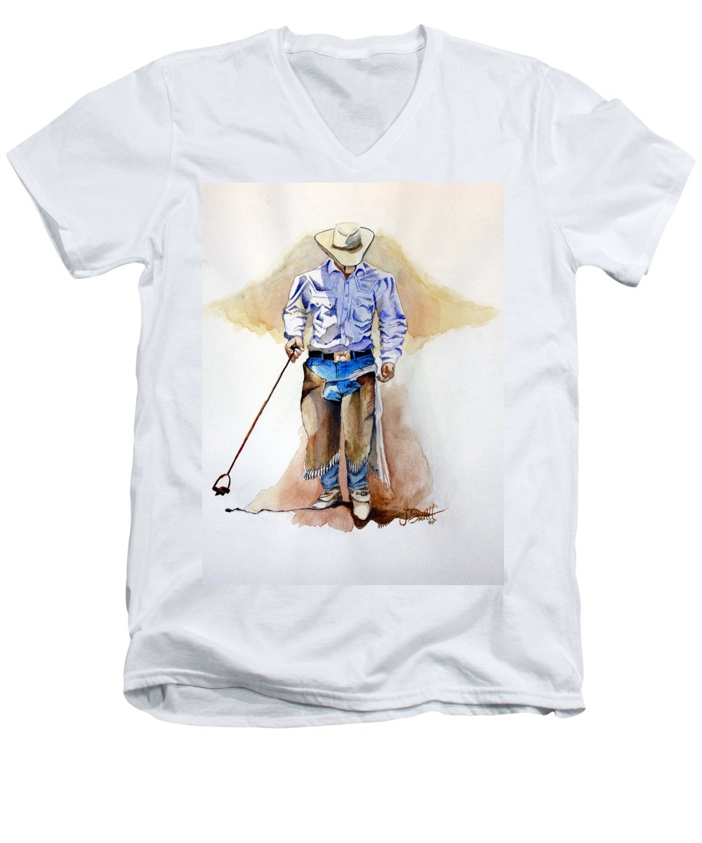 Western Men's V-Neck T-Shirt featuring the painting Branding Blisters by Jimmy Smith