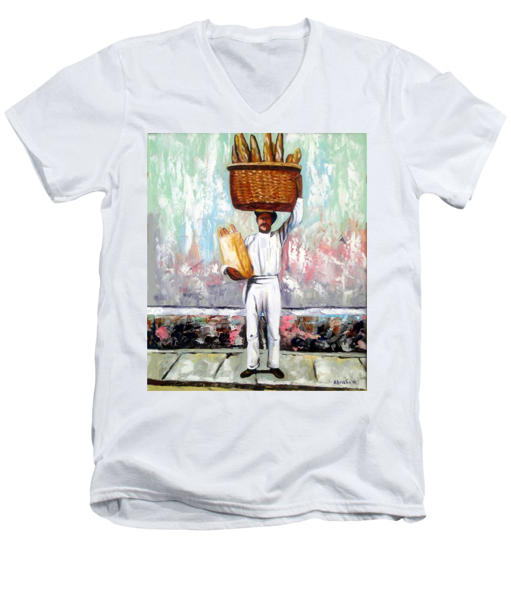 Bread Men's V-Neck T-Shirt featuring the painting Breadman by Jose Manuel Abraham