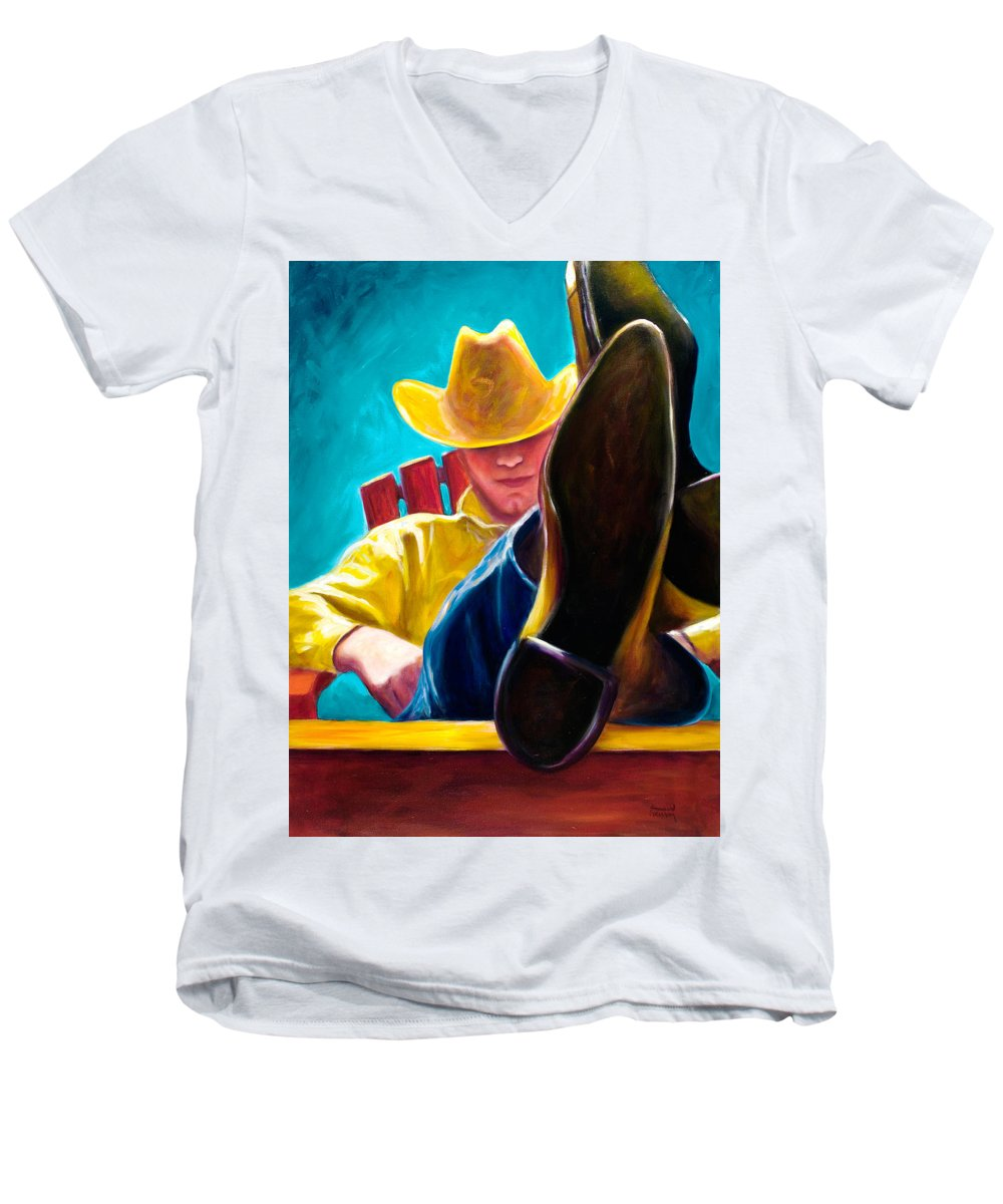 Western Men's V-Neck T-Shirt featuring the painting Break Time by Shannon Grissom