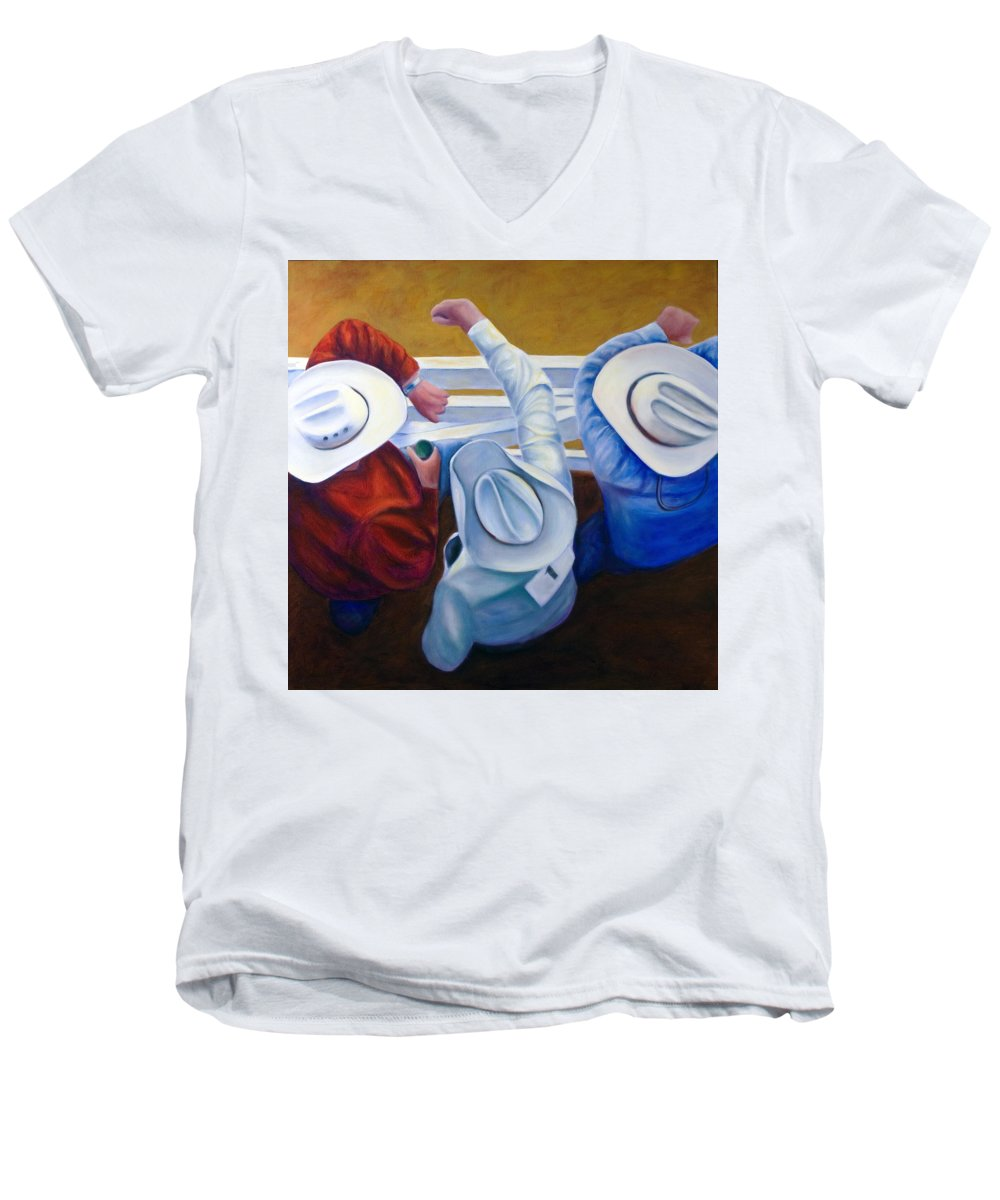 Western Men's V-Neck T-Shirt featuring the painting Bull Chute by Shannon Grissom