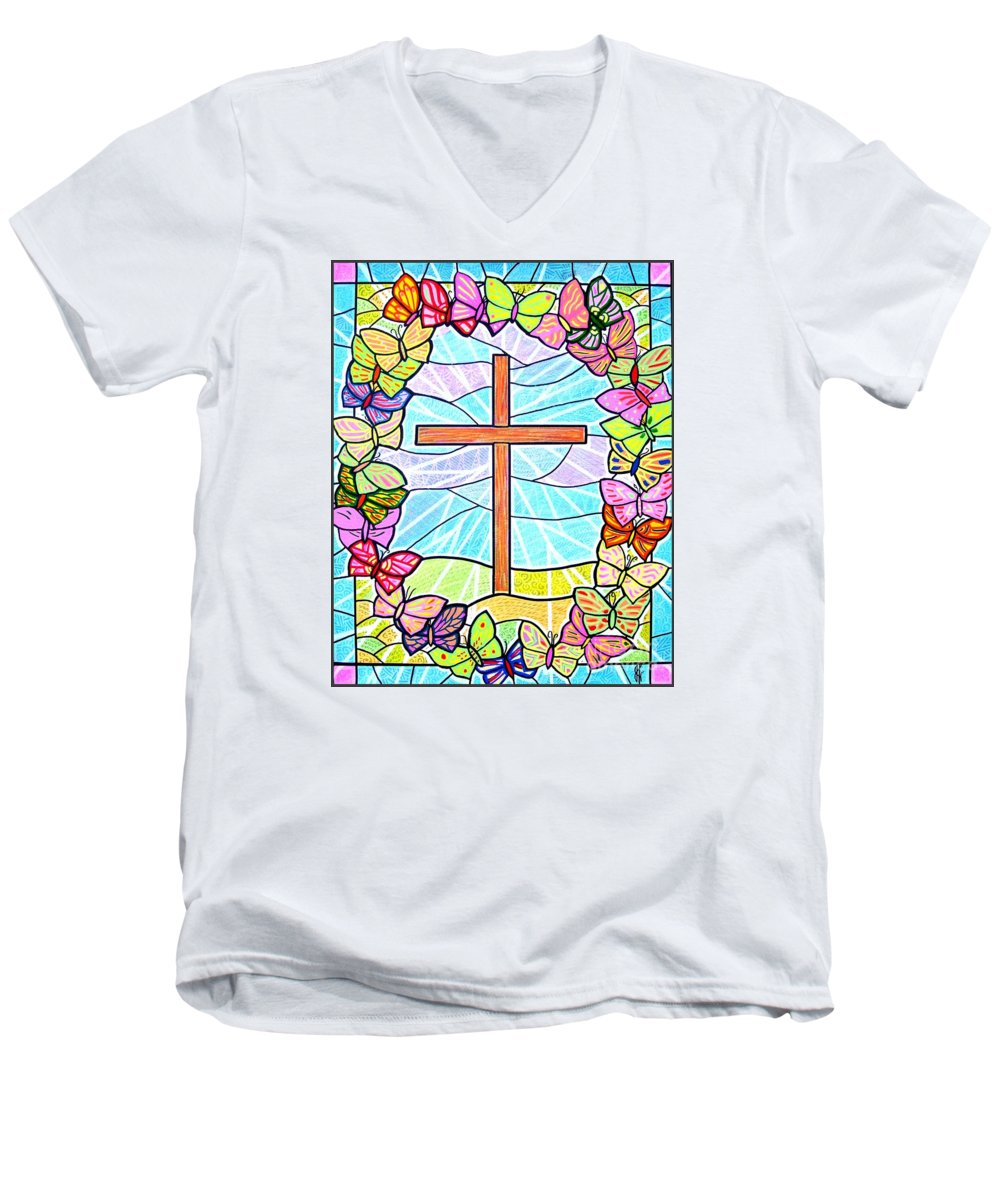 Easter Men's V-Neck T-Shirt featuring the painting Butterflies And Cross by Jim Harris