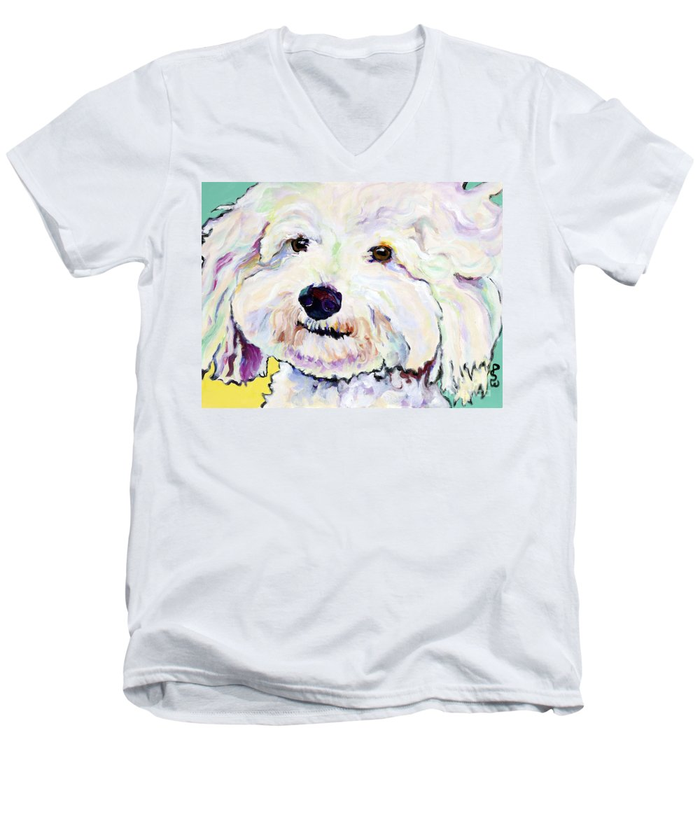 Bischon Men's V-Neck T-Shirt featuring the painting Buttons  by Pat Saunders-White