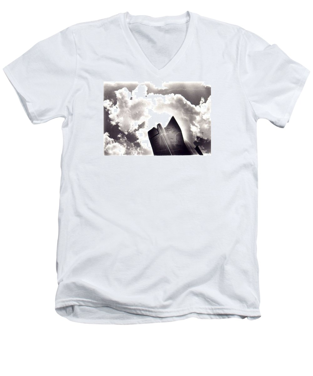 Cadillac Tailfin Men's V-Neck T-Shirt featuring the photograph Cadillac by Ted M Tubbs