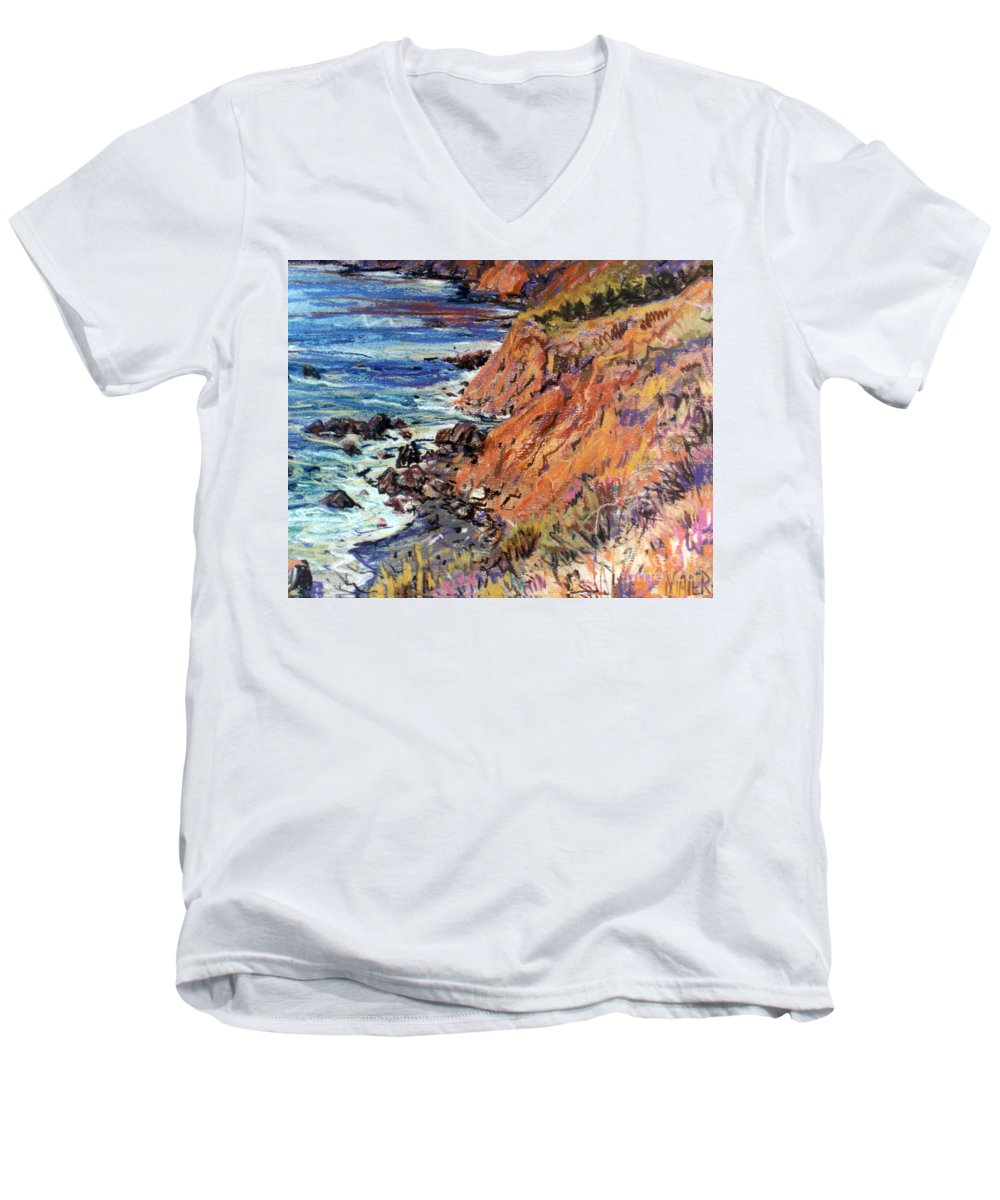Big Sur Men's V-Neck T-Shirt featuring the drawing California Coast by Donald Maier