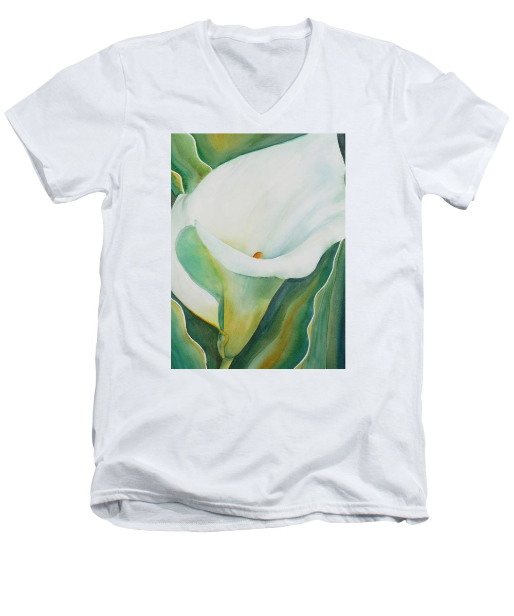 Flower Men's V-Neck T-Shirt featuring the painting Calla Lily by Ruth Kamenev
