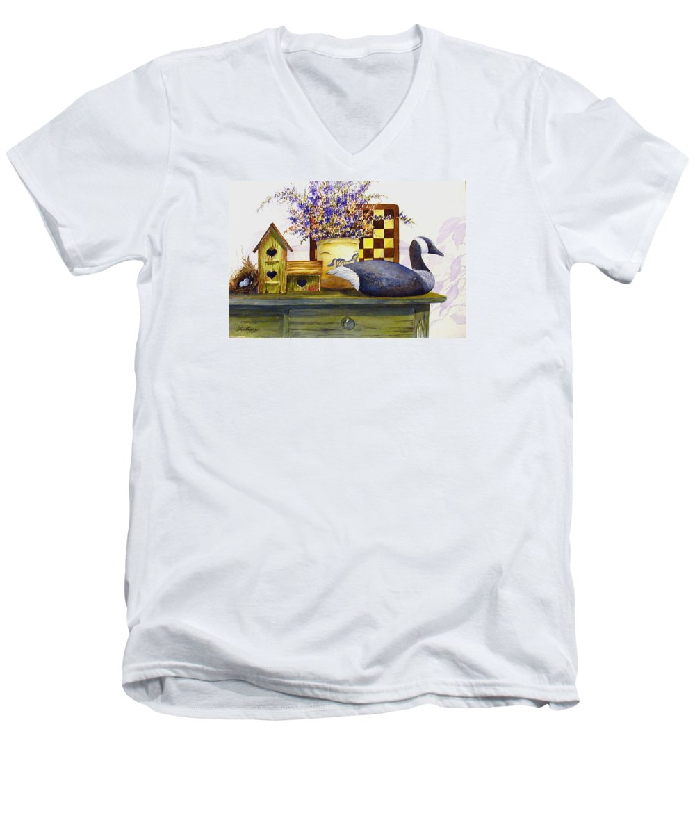 Canada Goose;birdhouse;bird Nest;crock;checkerboard;still Life;country Still Life; Men's V-Neck T-Shirt featuring the painting Canada And Checkerboard by Lois Mountz
