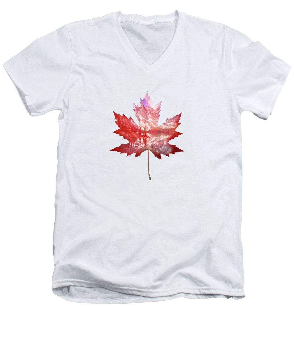 Maple Leaf Art V-Neck T-Shirts