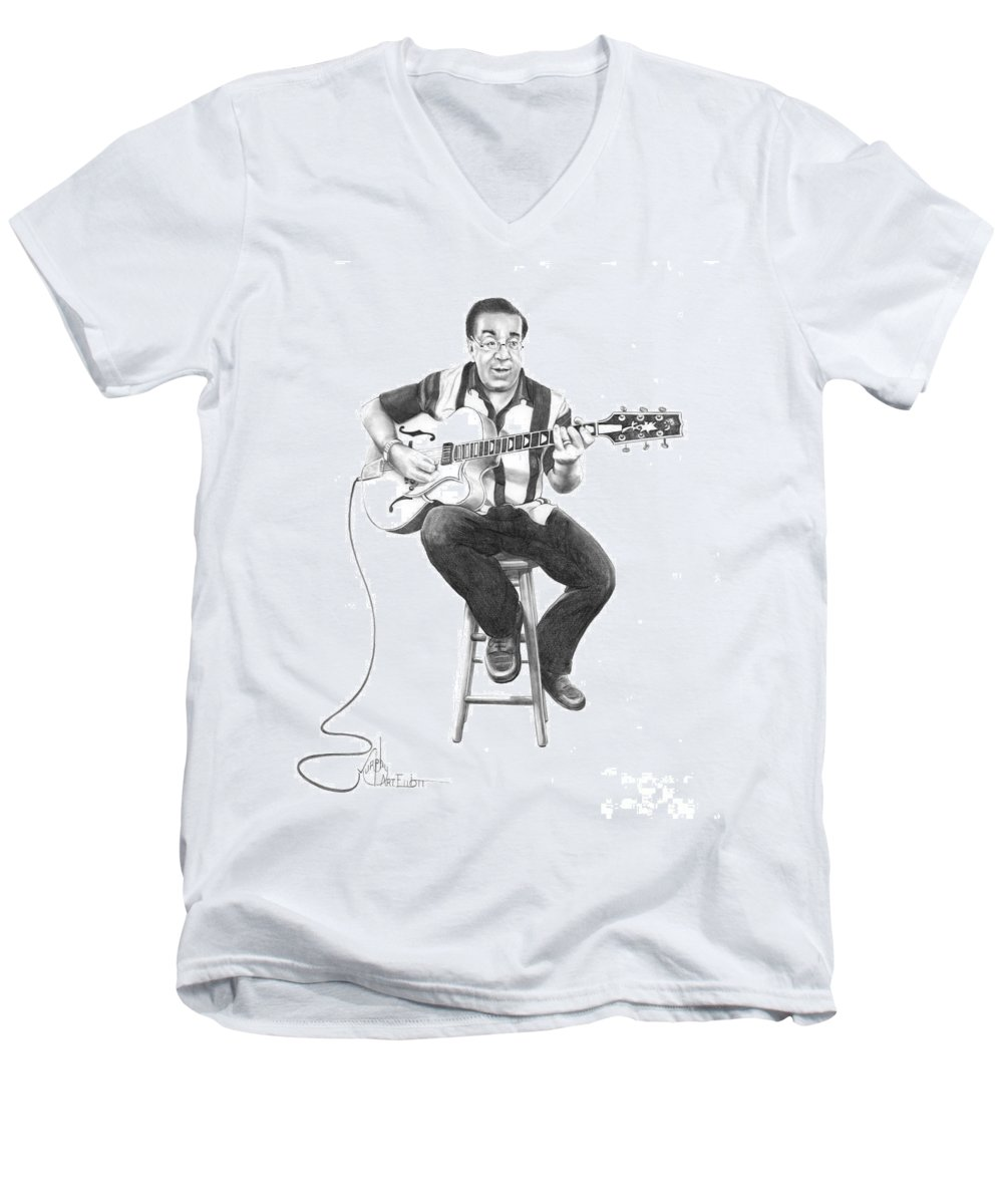 Drawing Men's V-Neck T-Shirt featuring the drawing Carmine D'amico by Murphy Elliott
