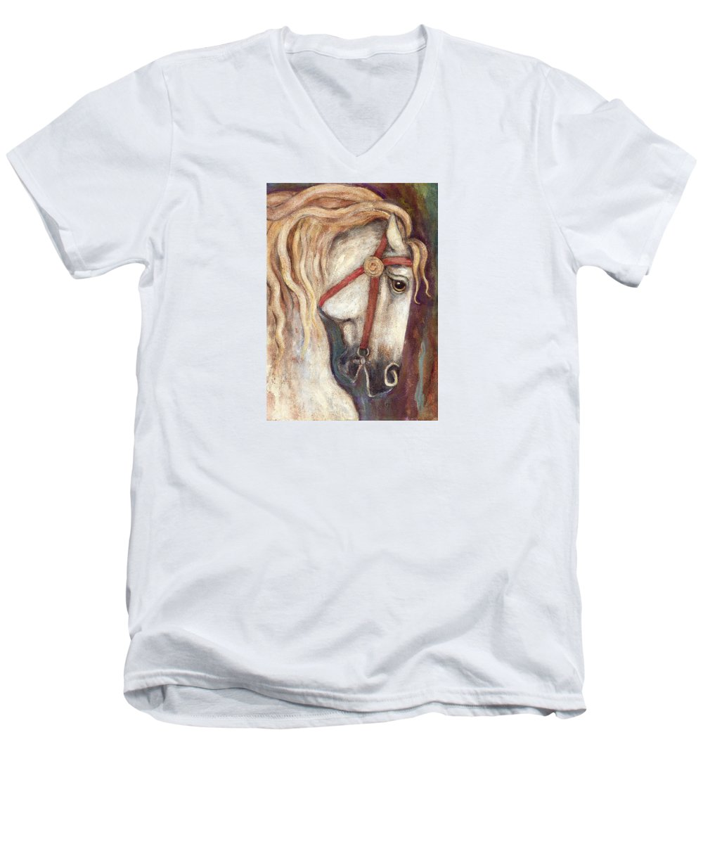 Horse Painting Men's V-Neck T-Shirt featuring the painting Carousel Horse Painting by Frances Gillotti