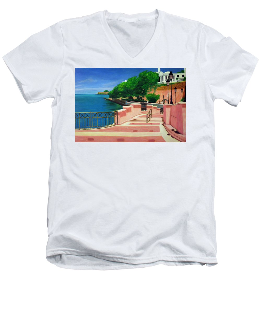Landscape Men's V-Neck T-Shirt featuring the painting Casa Blanca - Puerto Rico by Tito Santiago