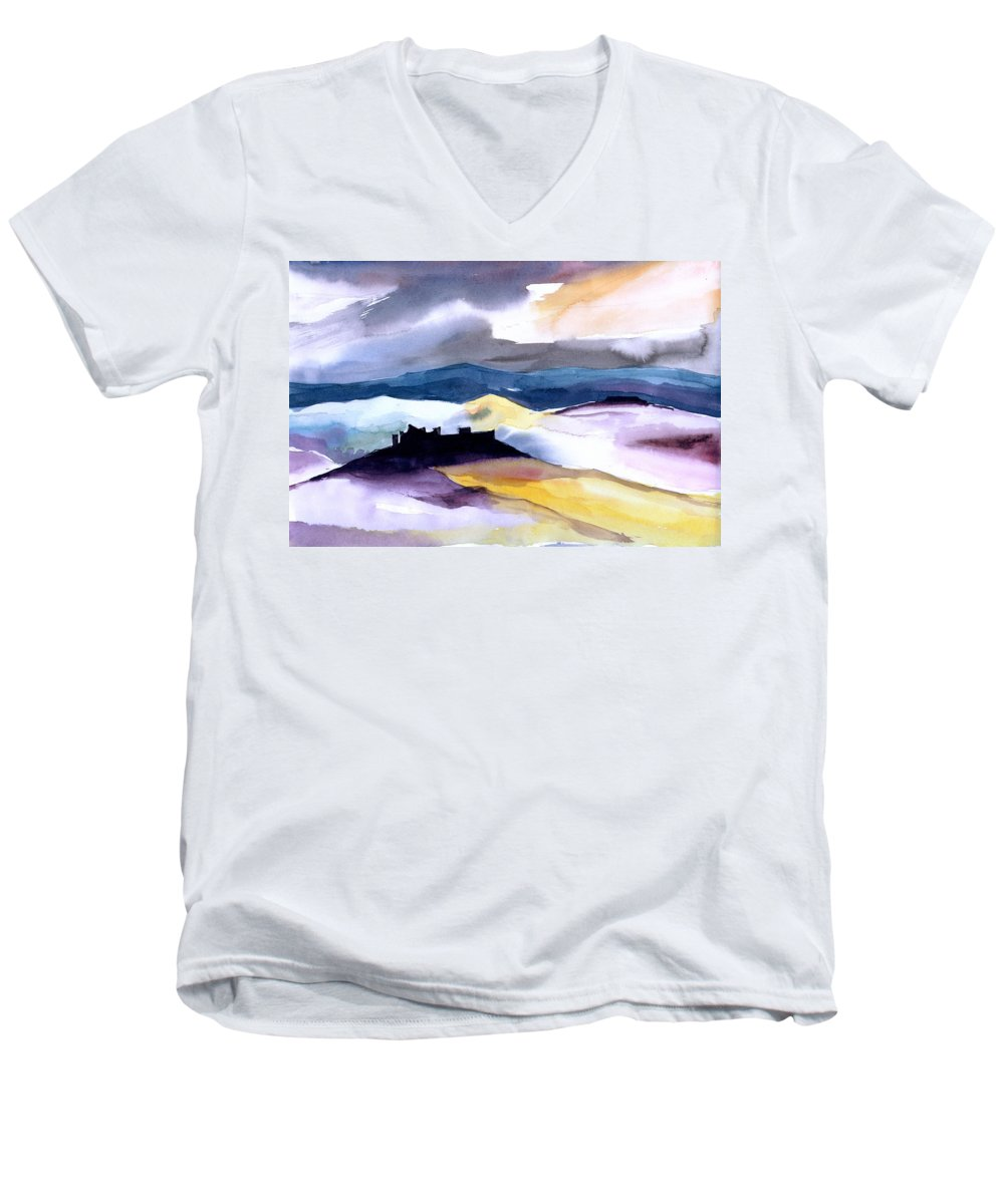 Water Men's V-Neck T-Shirt featuring the painting Castle by Anil Nene