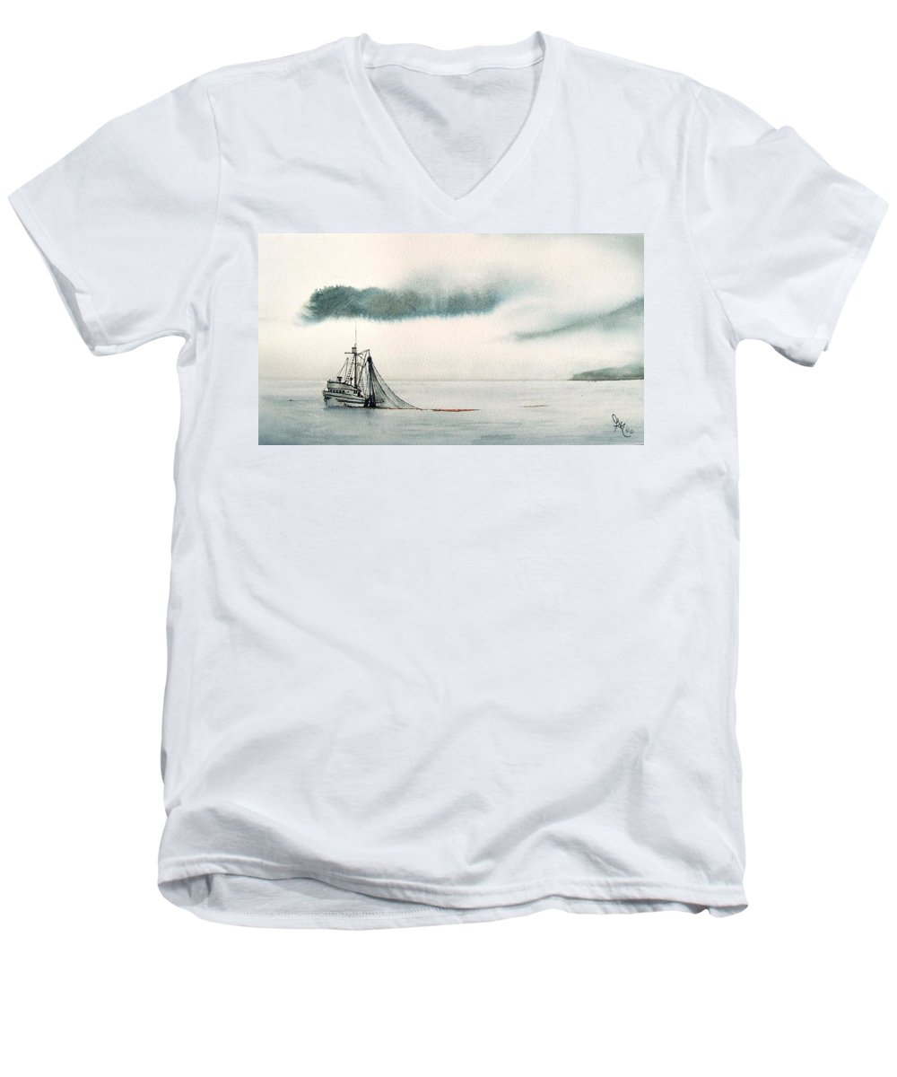 Fishing Boat Men's V-Neck T-Shirt featuring the painting Catch Of The Day by Gale Cochran-Smith