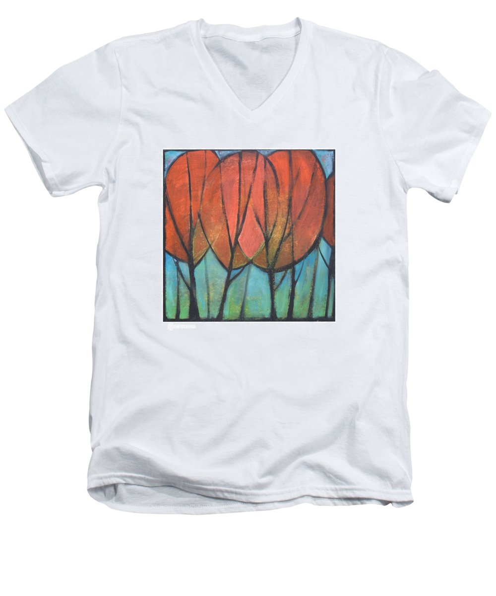 Trees Men's V-Neck T-Shirt featuring the painting Cathedral by Tim Nyberg