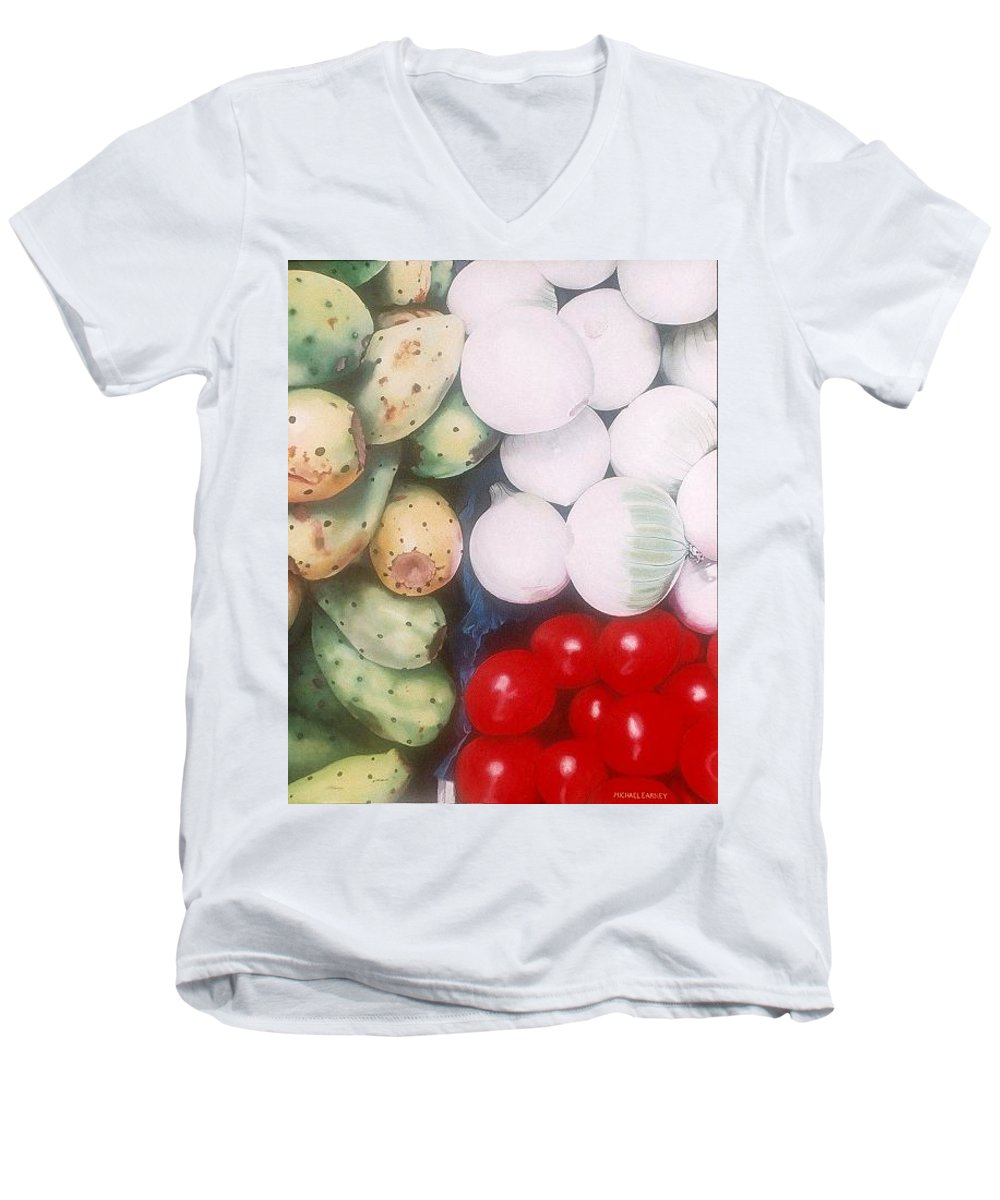 Hyperrealism Men's V-Neck T-Shirt featuring the painting Cebollas Tunas Y Tomates by Michael Earney
