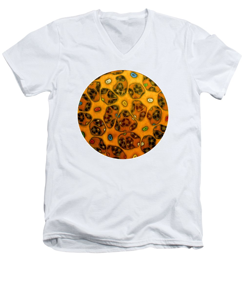 Cells Men's V-Neck T-Shirt featuring the drawing Cell Network by Nancy Mueller