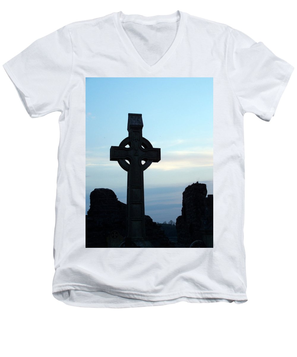 Irish Men's V-Neck T-Shirt featuring the photograph Celtic Cross At Sunset Donegal Ireland by Teresa Mucha