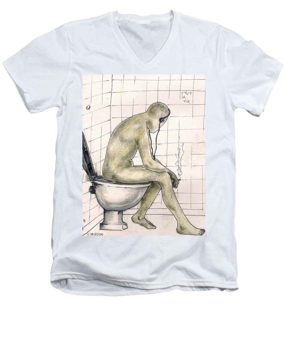 Life Naked Music Men's V-Neck T-Shirt featuring the drawing C'est La Vie by Veronica Jackson