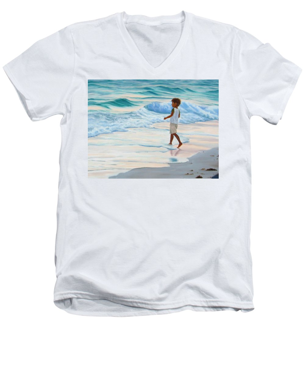 Child Men's V-Neck T-Shirt featuring the painting Chasing The Waves by Lea Novak