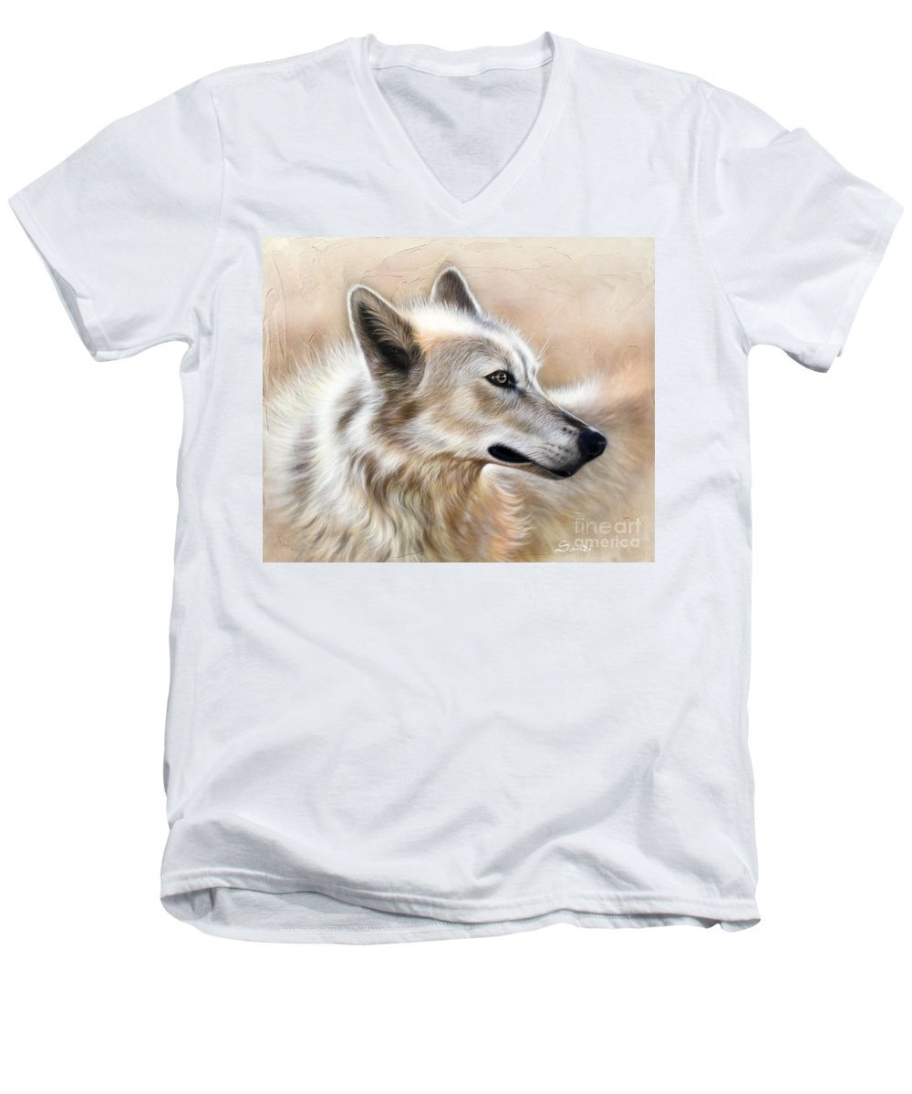 Acrylic Men's V-Neck T-Shirt featuring the painting Cheyenne by Sandi Baker