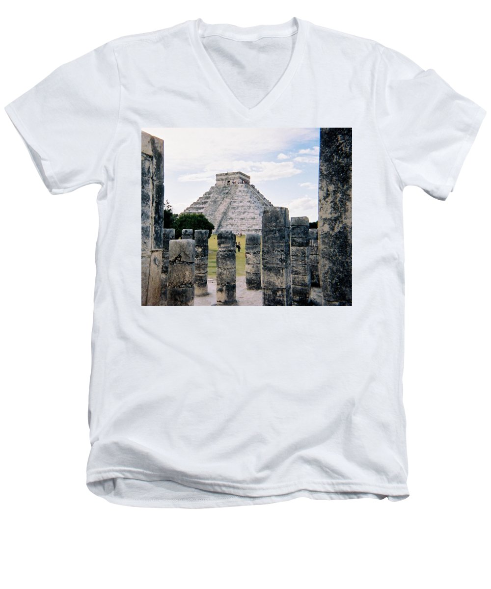 Chitchen Itza Men's V-Neck T-Shirt featuring the photograph Chichen Itza 3 by Anita Burgermeister