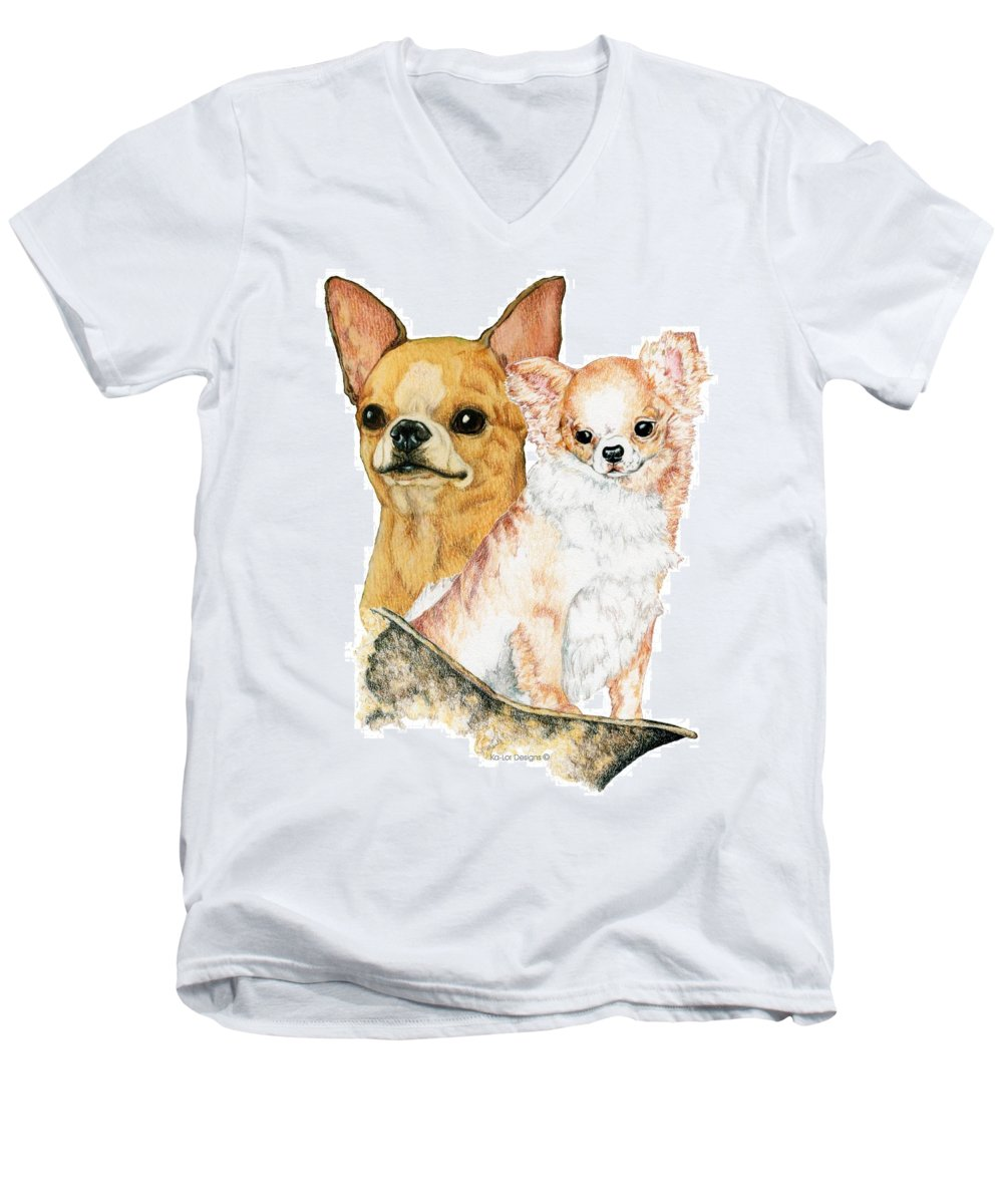Chihuahua Men's V-Neck T-Shirt featuring the drawing Chihuahuas by Kathleen Sepulveda