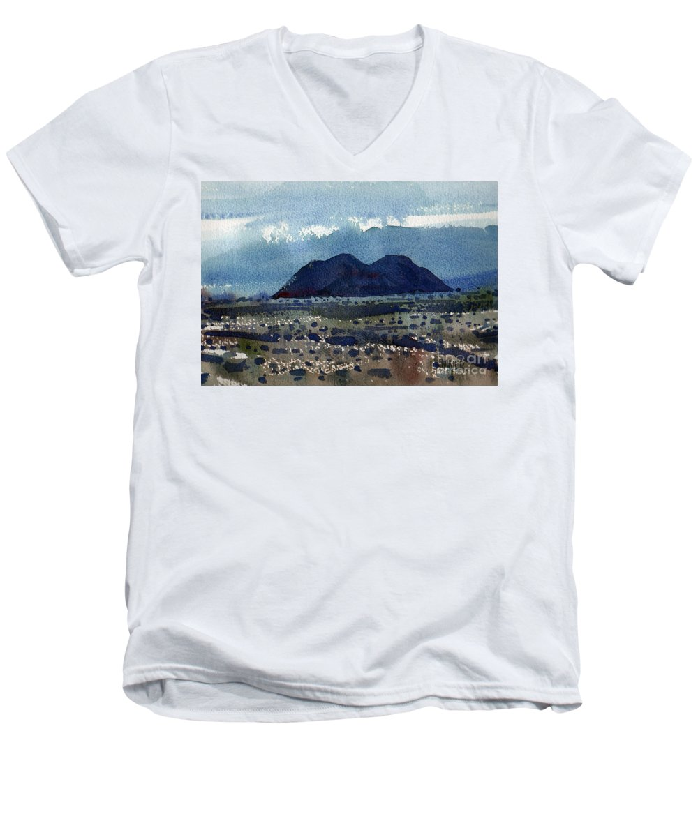 Cinder Cone Men's V-Neck T-Shirt featuring the painting Cinder Cone Death Valley by Donald Maier