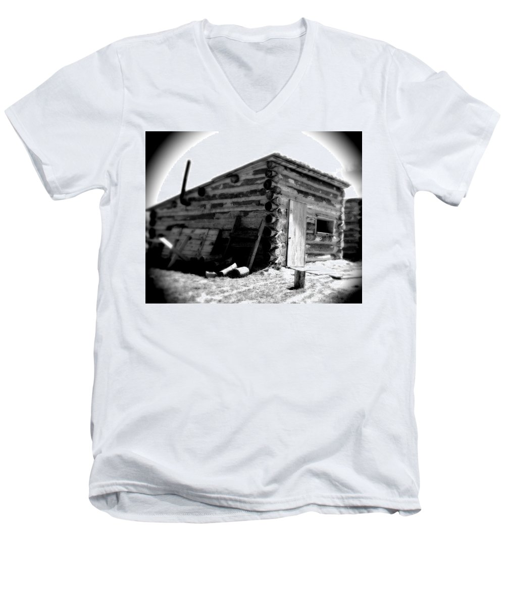 Army Men's V-Neck T-Shirt featuring the photograph Civil War Cabin 1 Army Heritage Education Center by Jean Macaluso