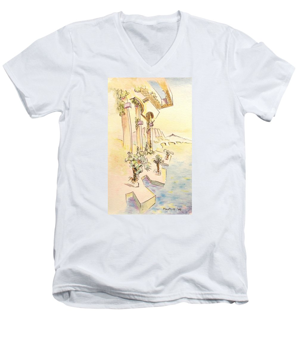 Italian Men's V-Neck T-Shirt featuring the painting Classic Summer Morning by Dave Martsolf