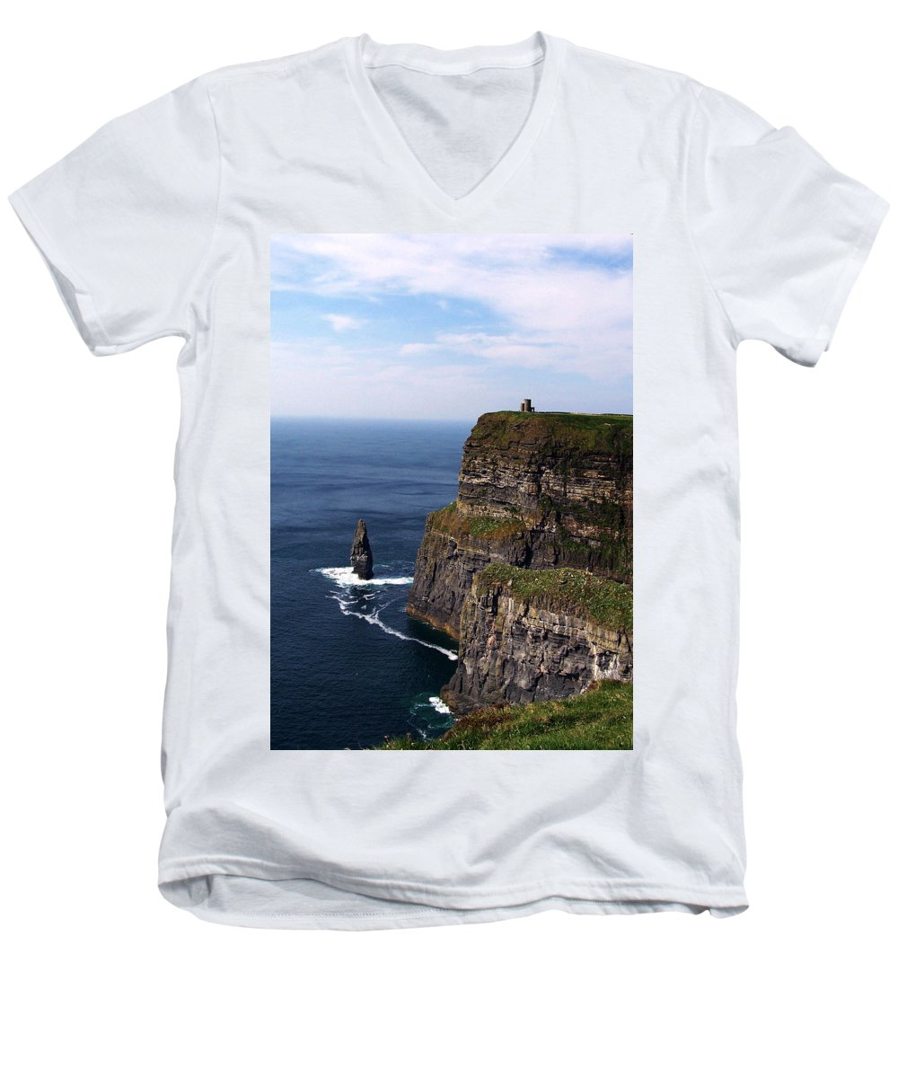 Irish Men's V-Neck T-Shirt featuring the photograph Cliffs Of Moher County Clare Ireland by Teresa Mucha