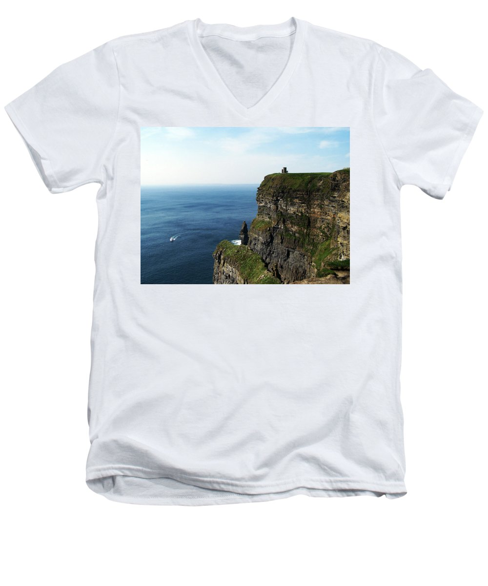Irish Men's V-Neck T-Shirt featuring the photograph Cliffs Of Moher Ireland by Teresa Mucha