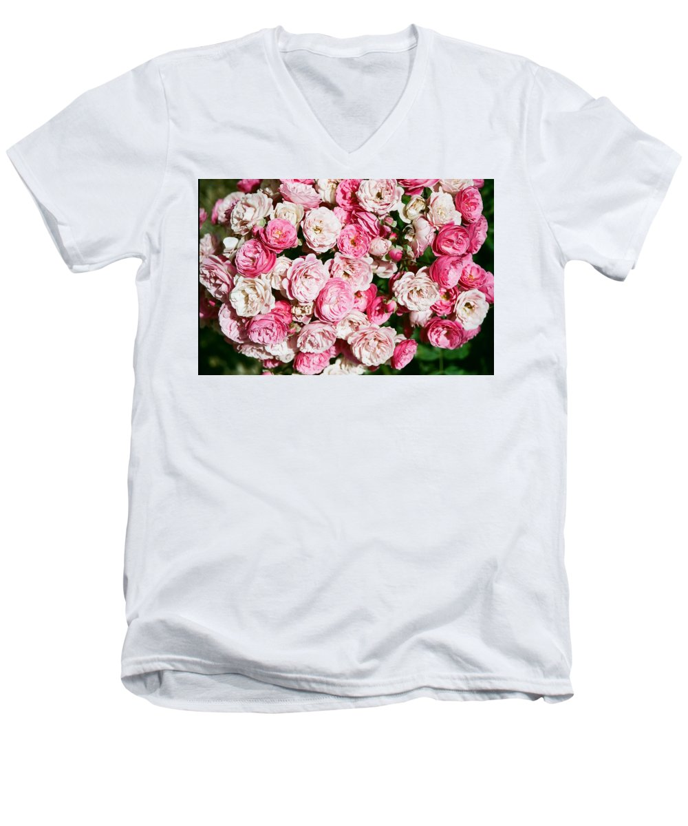 Rose Men's V-Neck T-Shirt featuring the photograph Cluster Of Roses by Dean Triolo