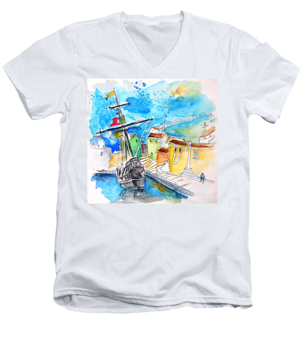 Portugal Men's V-Neck T-Shirt featuring the painting Conquistador Boat In Portugal by Miki De Goodaboom