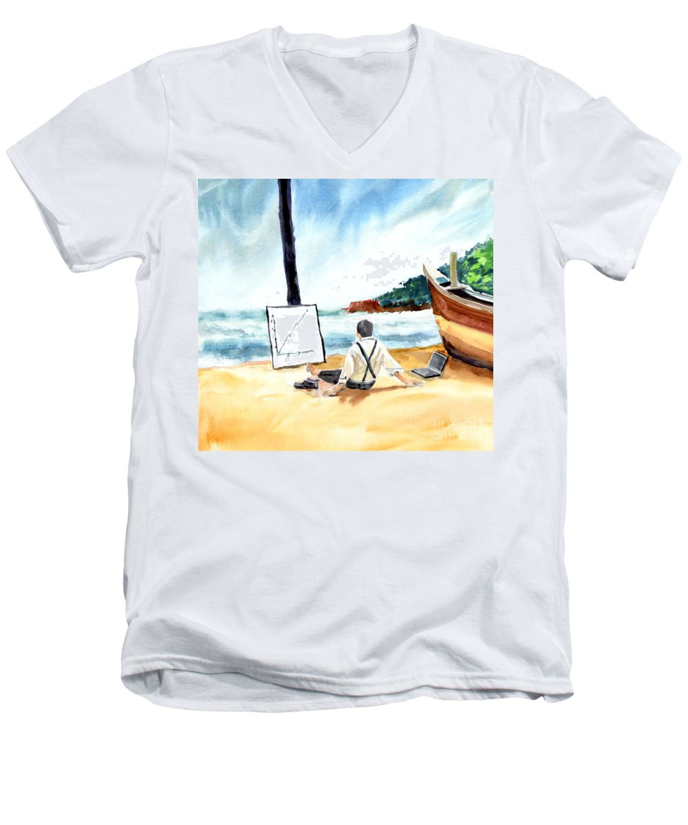 Landscape Men's V-Neck T-Shirt featuring the painting Contemplation by Anil Nene