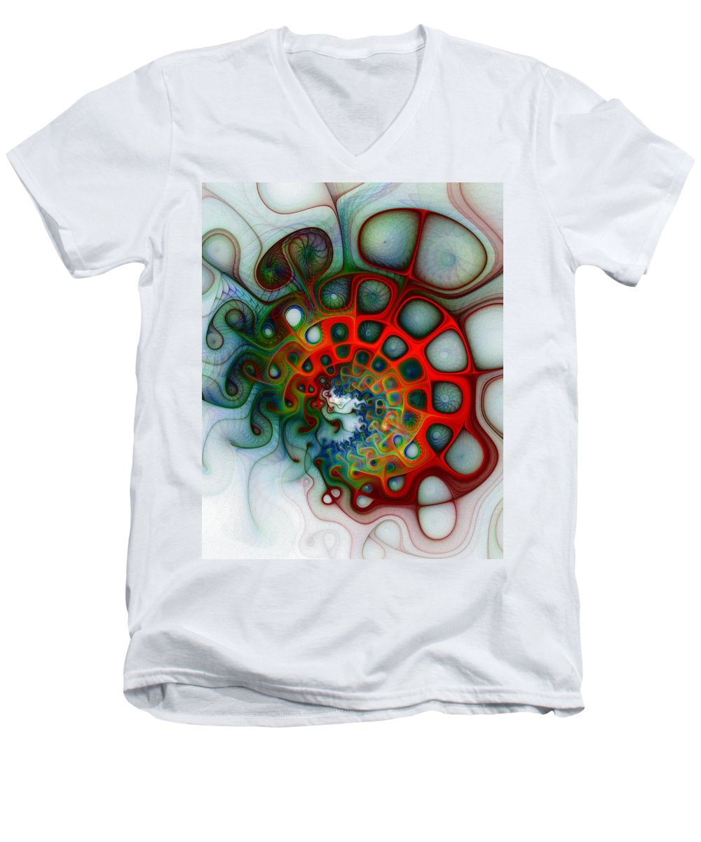 Digital Art Men's V-Neck T-Shirt featuring the digital art Convolutions by Amanda Moore