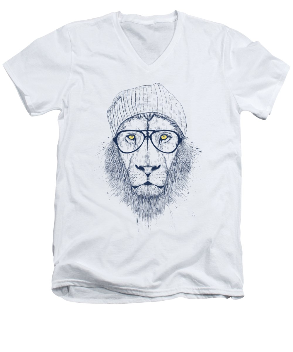 Lion Men's V-Neck T-Shirt featuring the digital art Cool Lion by Balazs Solti