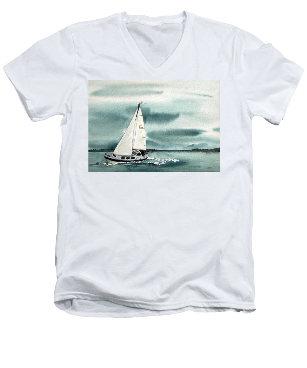 Sailing Men's V-Neck T-Shirt featuring the painting Cool Sail by Gale Cochran-Smith