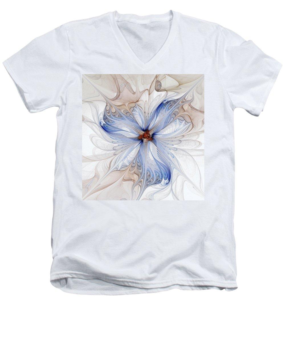 Digital Art Men's V-Neck T-Shirt featuring the digital art Cornflower Blues by Amanda Moore