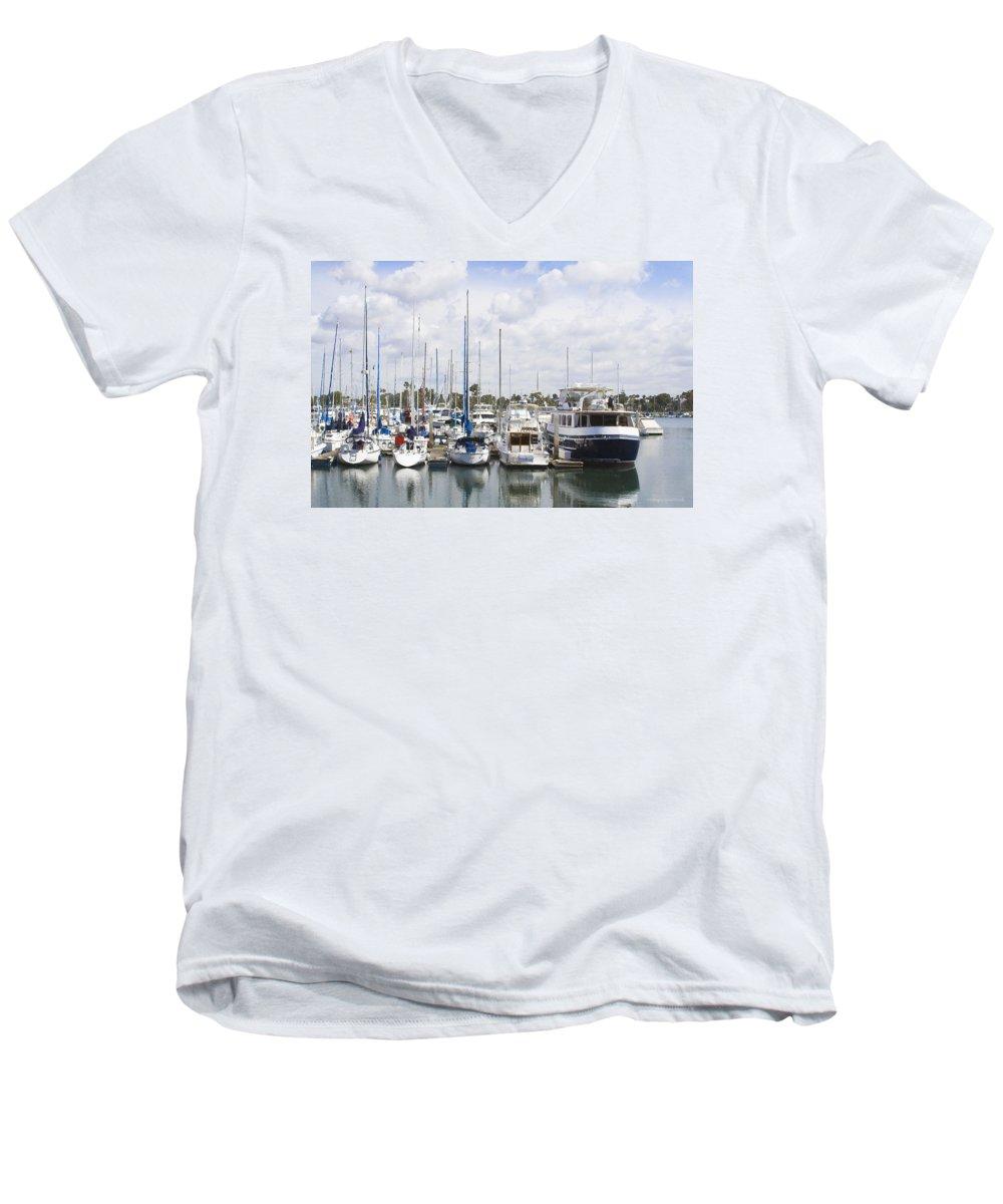 Coronado Men's V-Neck T-Shirt featuring the photograph Coronado Boats II by Margie Wildblood