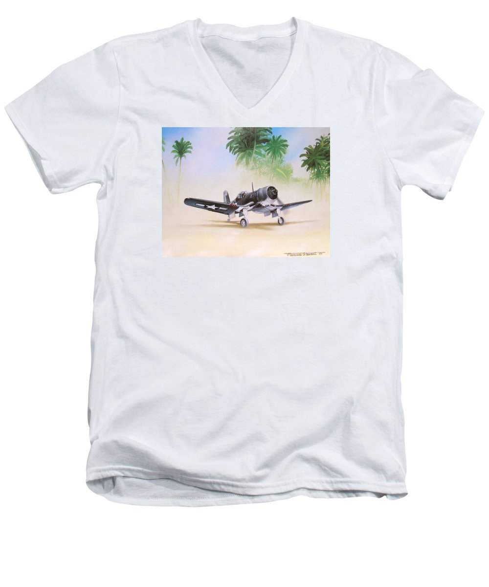 Aviation Men's V-Neck T-Shirt featuring the painting Corsair Preflight by Marc Stewart