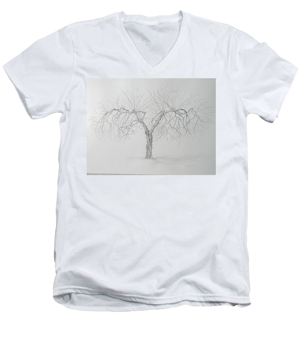 Cortland Apple Tree Men's V-Neck T-Shirt featuring the drawing Cortland Apple by Leah Tomaino