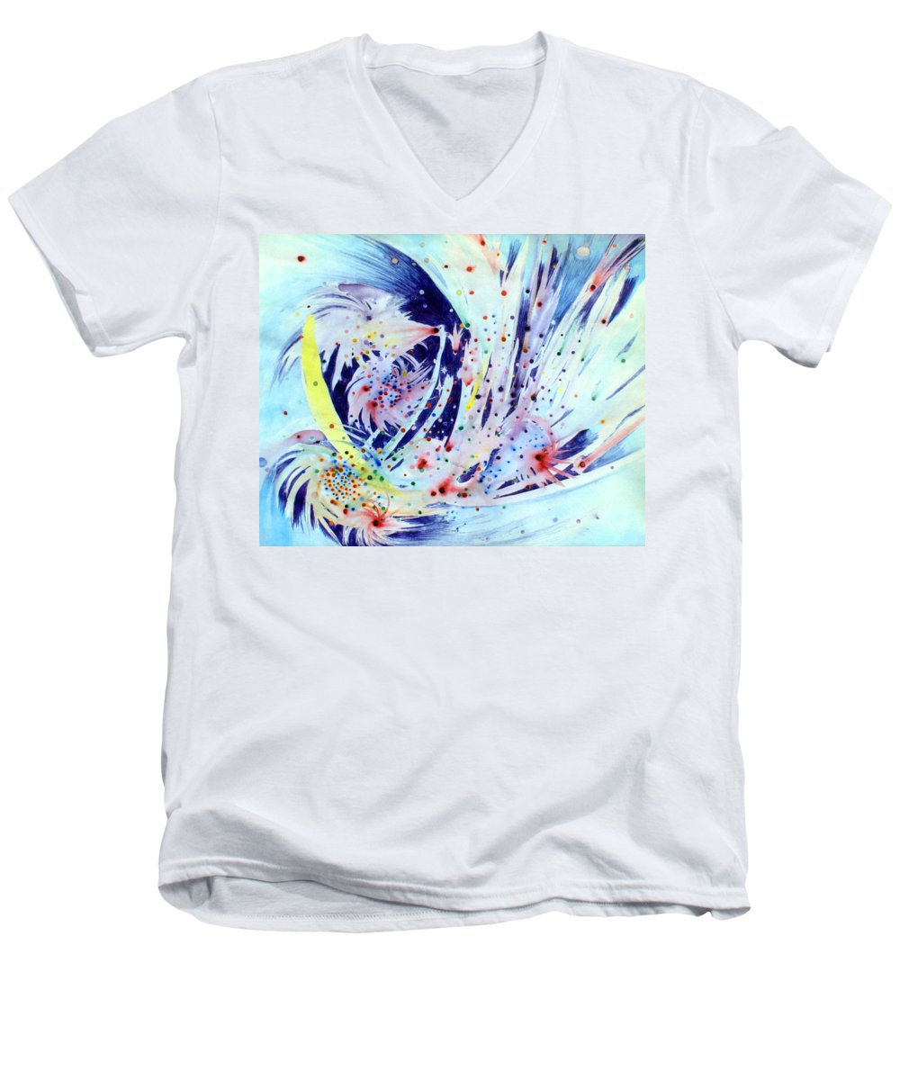 Abstract Men's V-Neck T-Shirt featuring the painting Cosmic Candy by Steve Karol