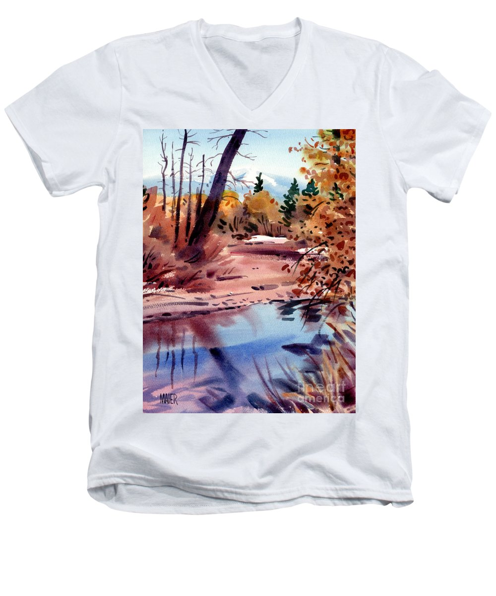Cottonwood Trees Men's V-Neck T-Shirt featuring the painting Cottonwoods In October by Donald Maier