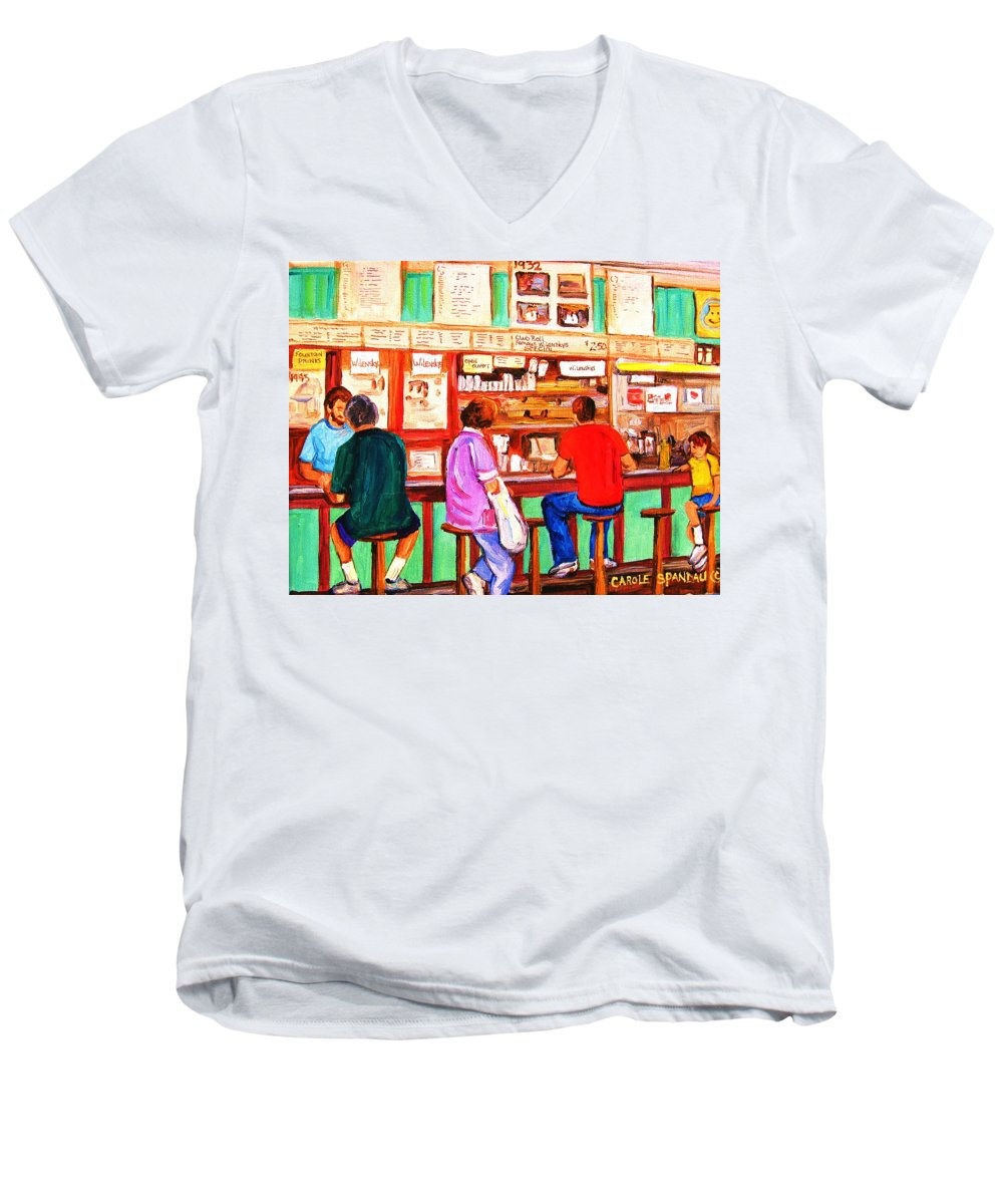 Montreal Men's V-Neck T-Shirt featuring the painting Counter Culture by Carole Spandau
