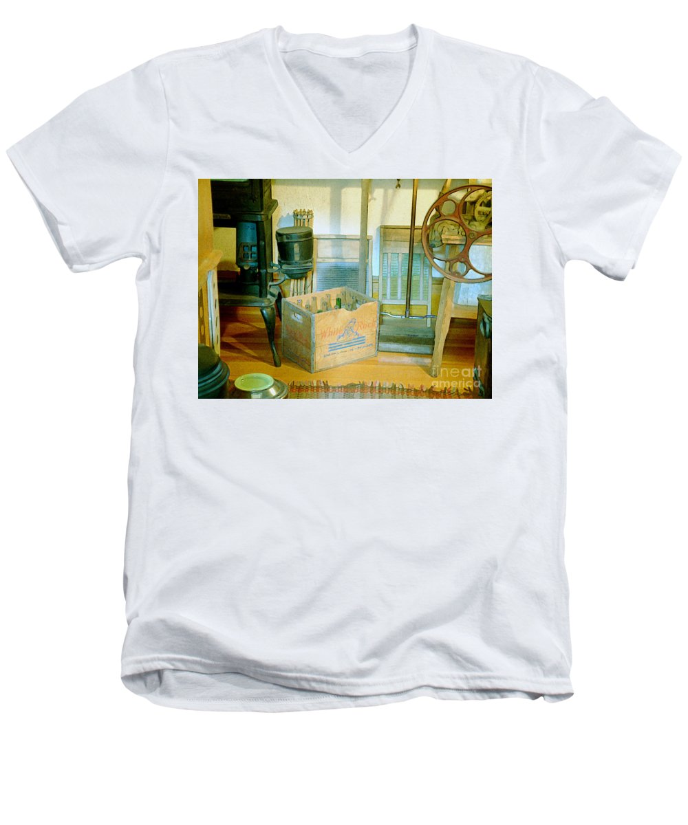 Kitchen Men's V-Neck T-Shirt featuring the painting Country Kitchen Sunshine II by RC deWinter