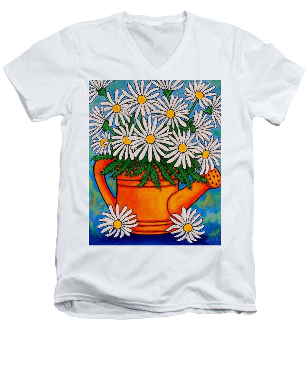 Daisies Men's V-Neck T-Shirt featuring the painting Crazy For Daisies by Lisa Lorenz