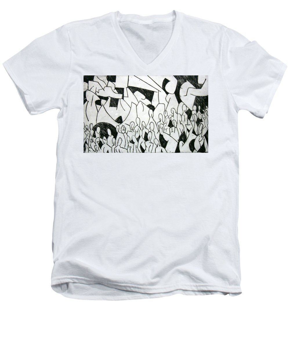 Etching Men's V-Neck T-Shirt featuring the print Crowd by Thomas Valentine