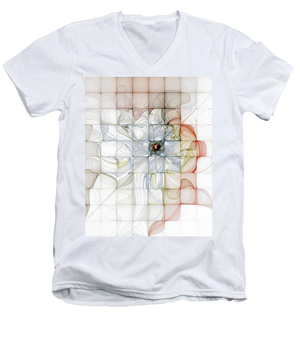 Digital Art Men's V-Neck T-Shirt featuring the digital art Cubed Pastels by Amanda Moore