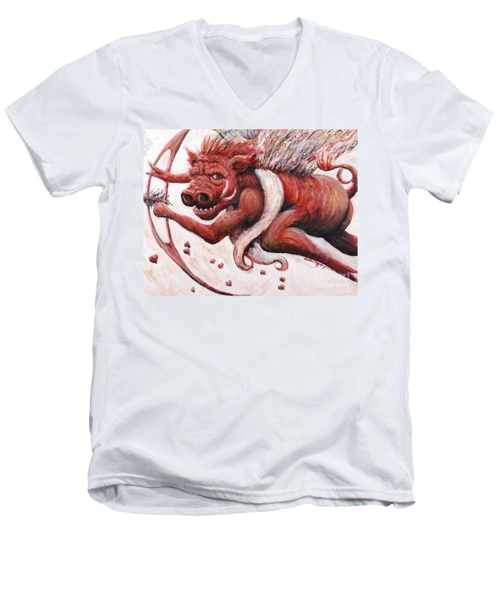 Pig Men's V-Neck T-Shirt featuring the painting Cupig by Nadine Rippelmeyer